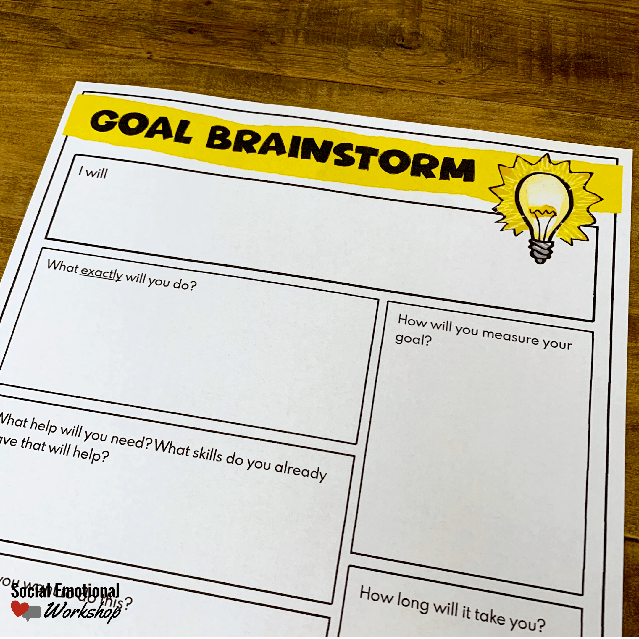 SMART goal Brainstorm sheet