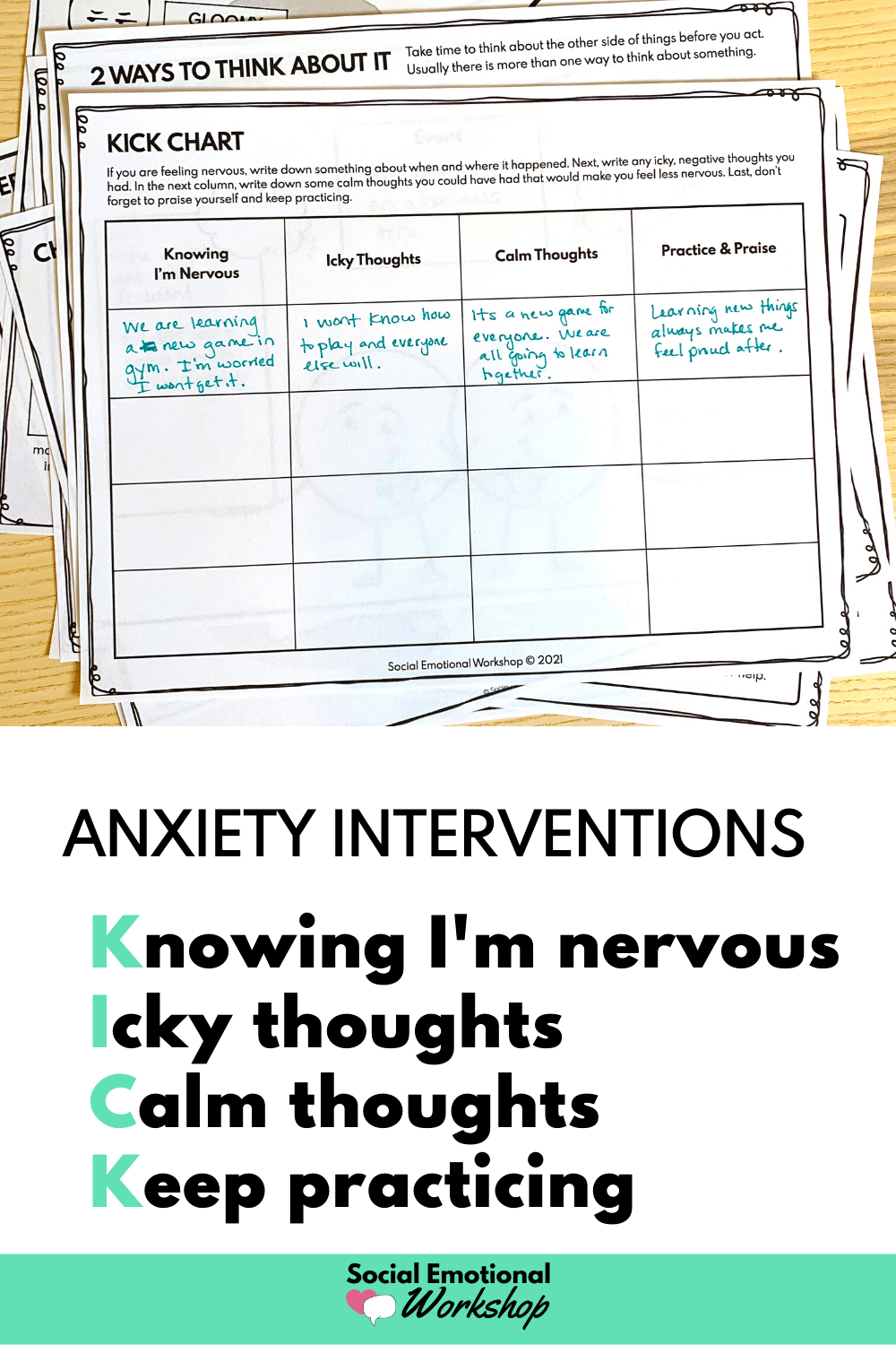 Anxiety Intervention Worksheet Picture