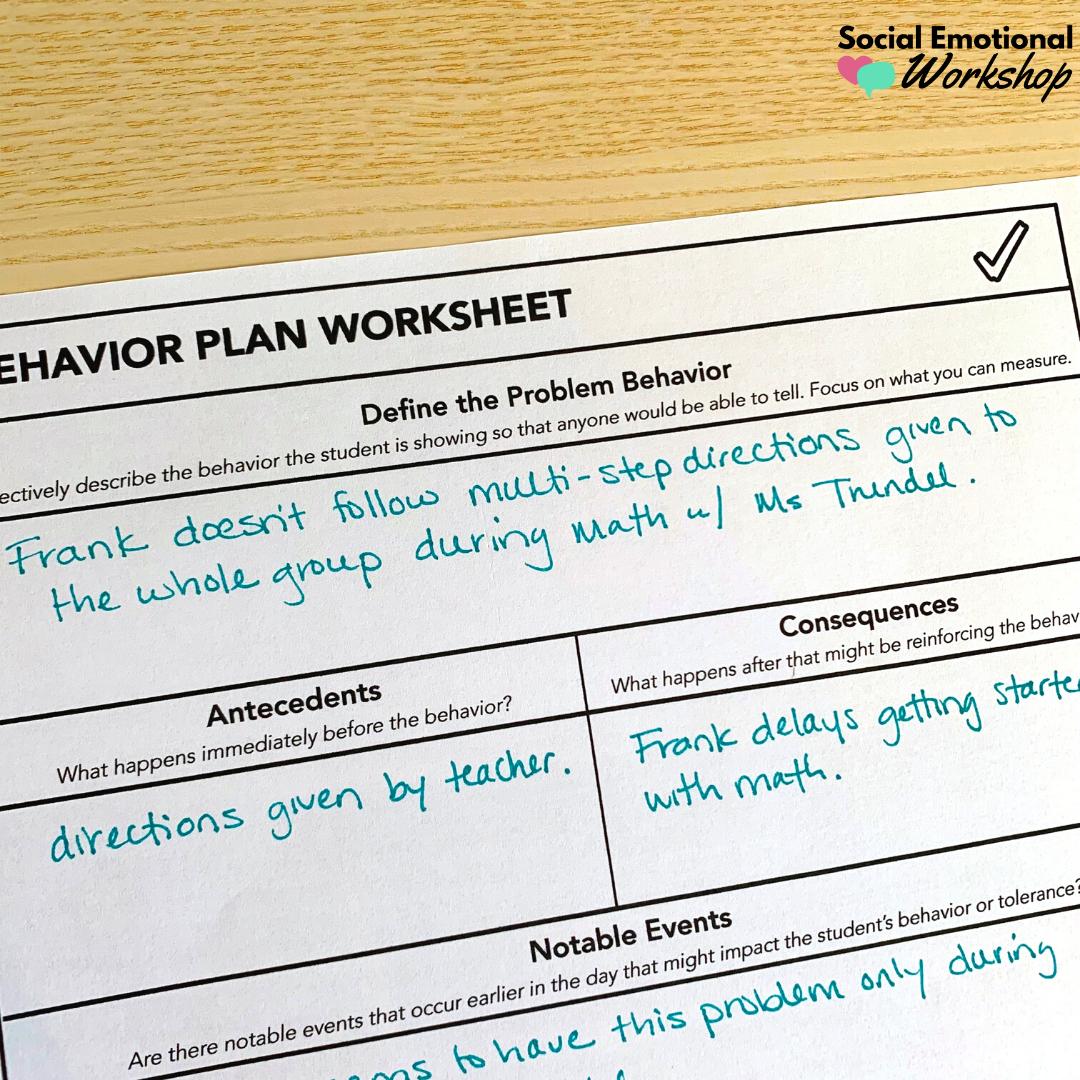 Behavior plan worksheet - section on defining the problem behavior