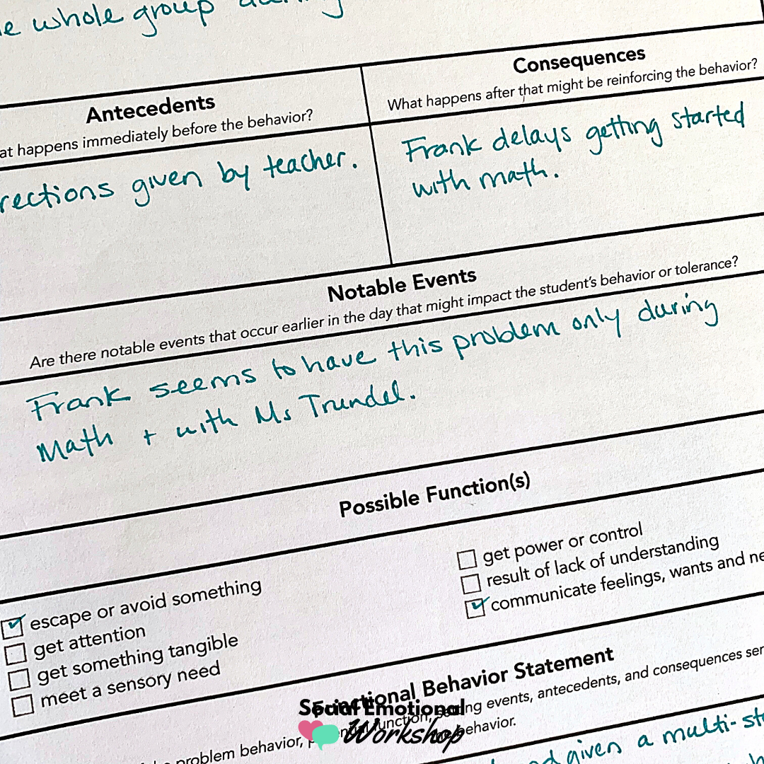 note antecedents and consquences when developing a behavior plan