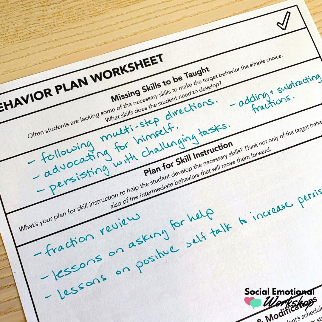 missing skills section of a behavior plan development worksheet