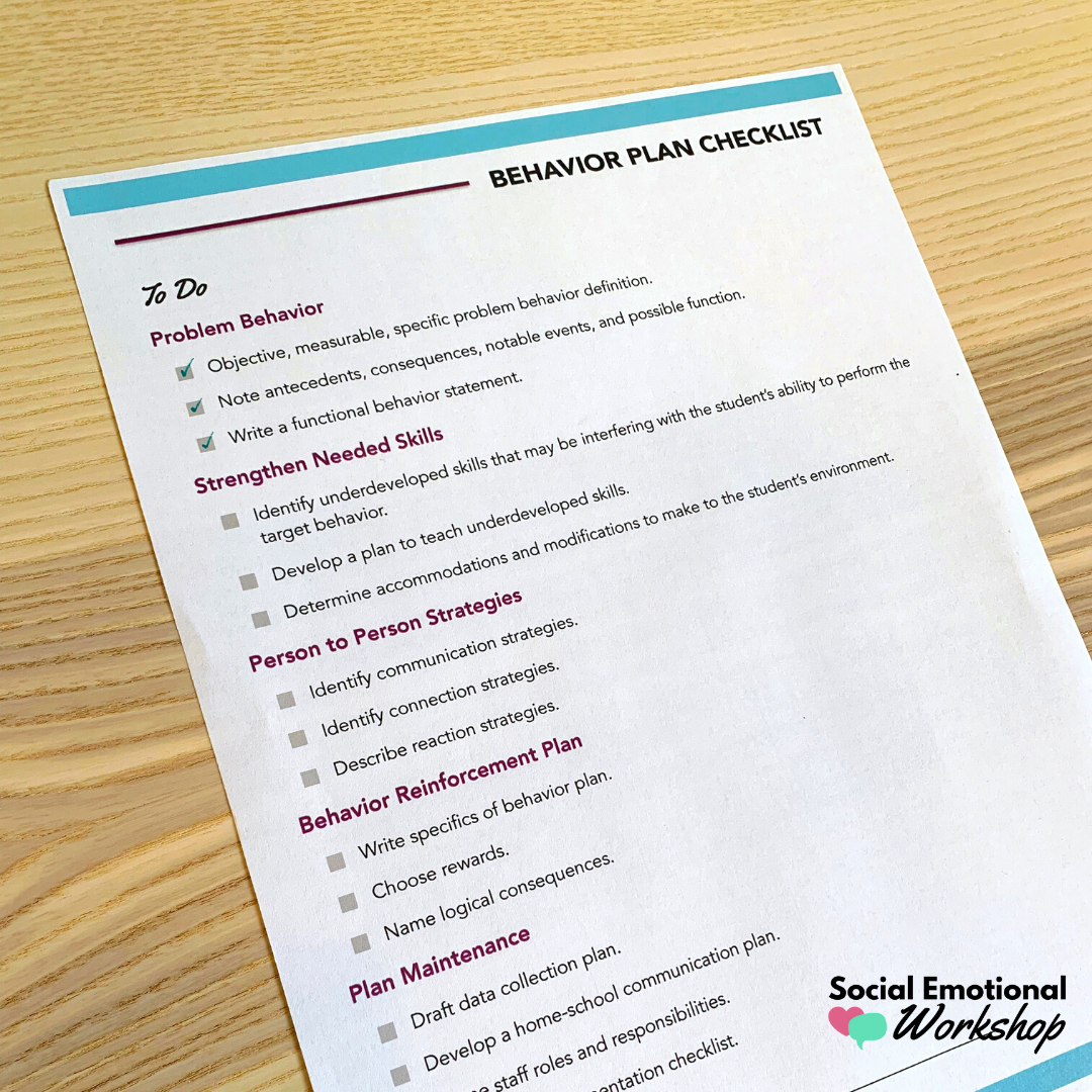 behavior plan development checklist
