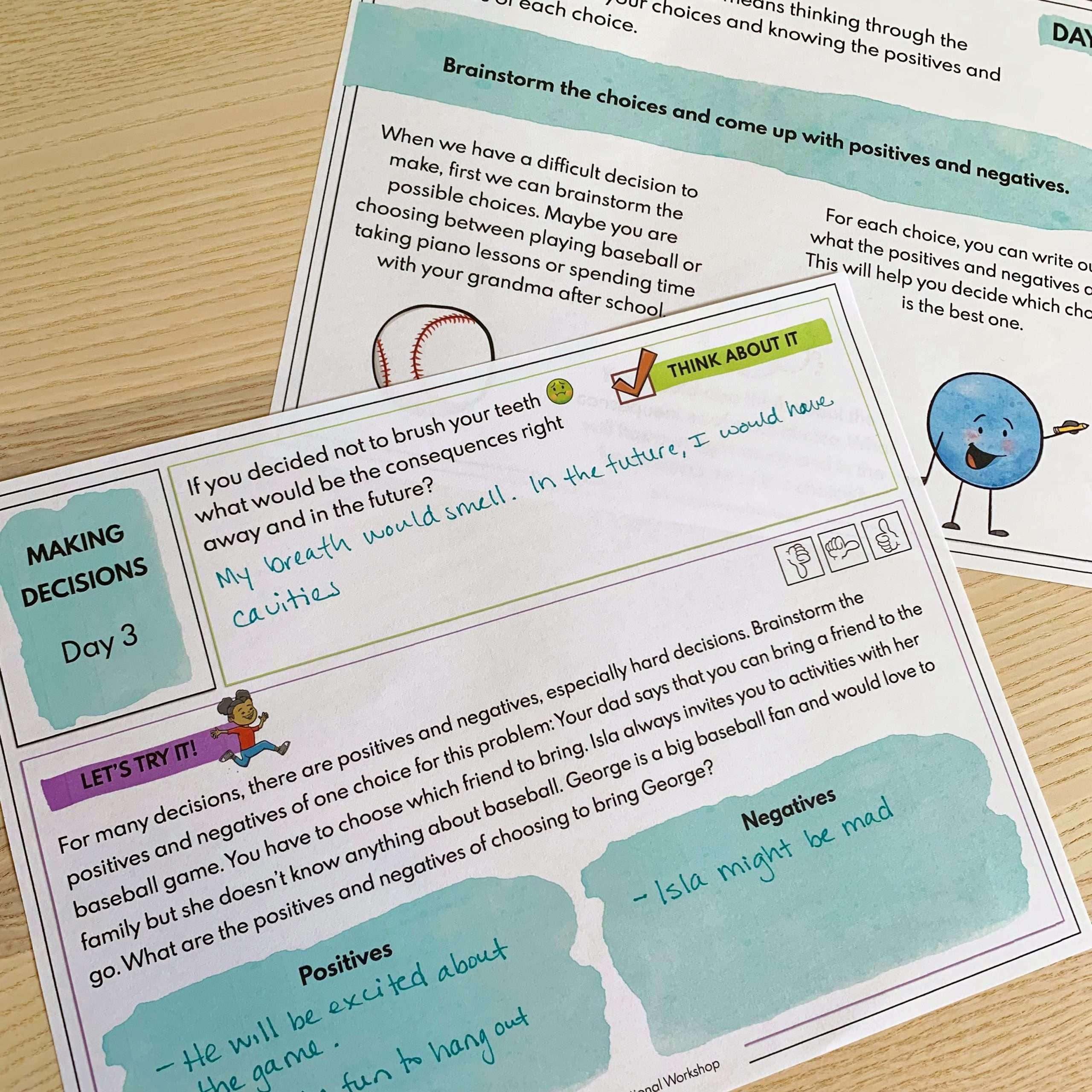 Decision Making Lesson Printable